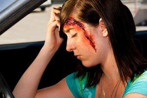 Bleeding head injury after car accident in Miami